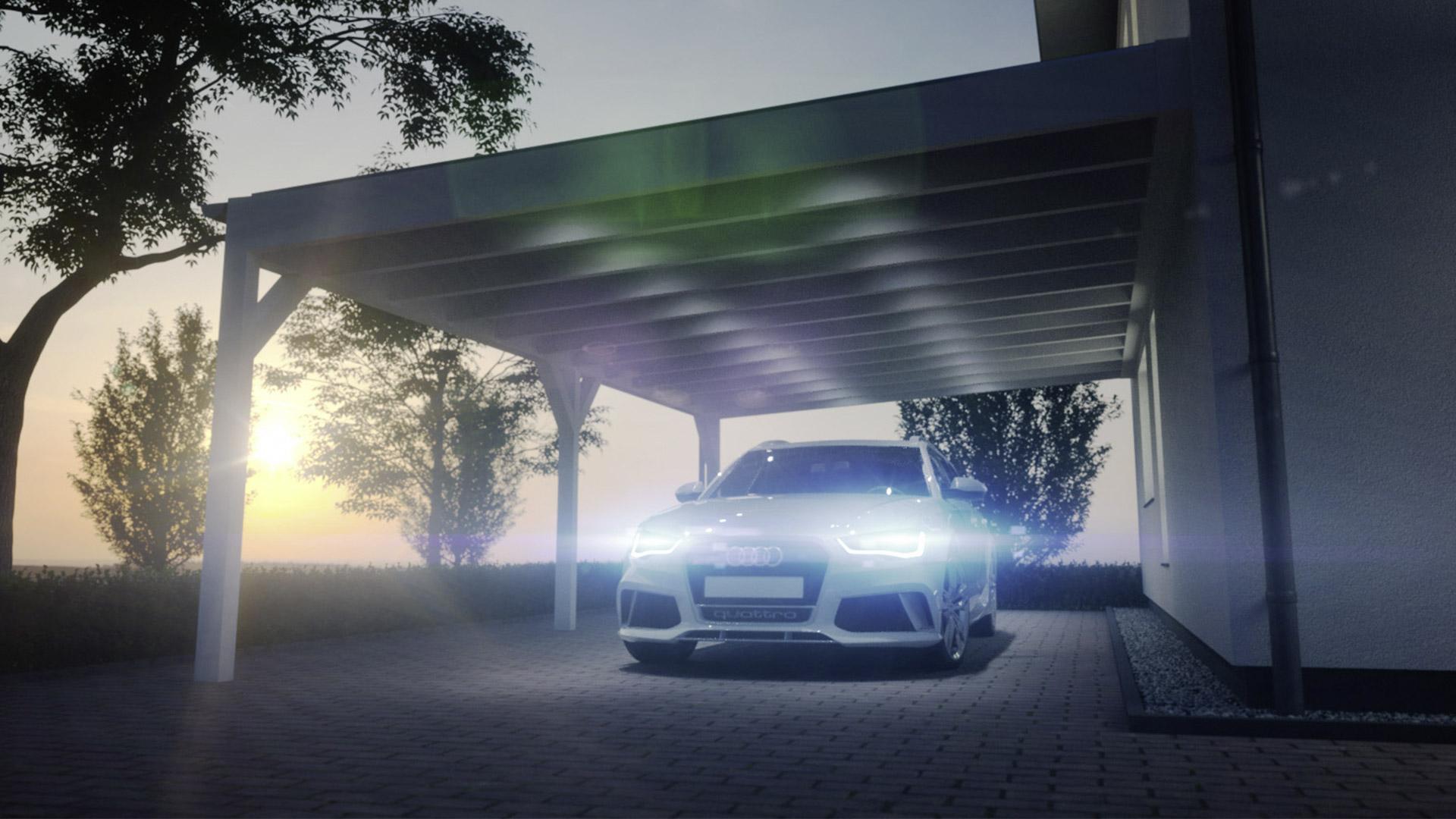 Bild eines Audi unter einem Carport bei Sonnenuntergang